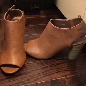 Brown Chunky Block-Heeled Booties